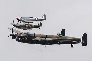 BBMF Lancaster and spitfires flypast