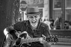 Black Lake Soul.... (Kevin Povenz Thanks for the 3,300,000 views) Tags: 2017 july kevinpovenz westmichigan michigan ottawacounty ottawa holland hollandstreetperformers performer blackandwhite bw canon7dmarkii sigma24105art street streetphotography downtown guitar