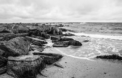 Sea shore (marionmcmurdo) Tags: rocks coastline blackandwhite seashore longexposure blur fife scotland landscape