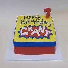 Superhero Grant Turns 7! (Creative Cakes - Tinley Park) Tags: superhero fondant standingnumber fondantlayon birthday