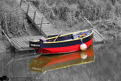 Red boat in a black and white world (www.eastsussexphotography.com) Tags: lone boat river ouse lewes east sussex black white bw red