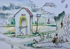 """La """"Chapelle St-Joseph"""" Wiers Belg. (alainhonoratlefebvre dit """" ALHO """") Tags: aquarelle dessin encre village belgique wiers péruwelz"""