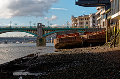 Old Timers (scottprice16) Tags: england london city architecture urban boats barges rusting old derelict seat beach medieval bridges february winter leica leicaxvario river riverthames