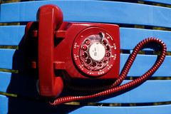 Phone (Curtis Gregory Perry) Tags: telephone red rotary dial old vintage antique electronics telecommunications blue table nikon d810 western electric number call 50mm f12
