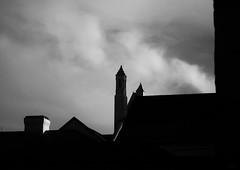 Towers at Evening (photo_secessionist) Tags: towers architecture church silhouette sky blackwhite bw bn landscape building frewdericksburg virginia monochrome pentax km digital pentaxaf470210mmzoomlens pentaxart