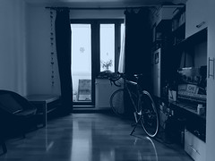 winter bike (nick popa) Tags: felt winter cold room living blue dark ride still stillness roomy walls floor bike