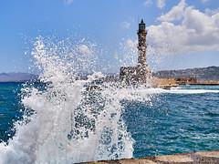 Choppy (rasmusthepood) Tags: summer greece chania lighthouse harbour wave sea cloud