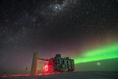 Auroras are coming (redfurwolf) Tags: southpole antarctica icecubelab icecube auroraaustralis aurora sky stars milkyway building night nightsky nightphotography snow outdoor nature landscape redfurwolf sonyalpha sony a99ii sal1635f28za