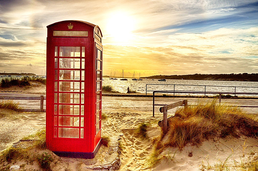 Iconic red phone box ,Studland Dorset