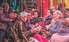 evening in Paris-1 (albyn.davis) Tags: people gathering street cafe conversation talking communicating paris france europe travel light night colors red