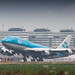 KLM 747-400 rocketing out of humid Amsterdam for LA