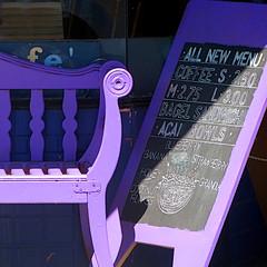 purple bench II (msdonnalee) Tags: bench banco banc purple chalkboard sandwichboard menu shadow ombre ombra sombra