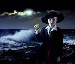 Captain Barbossa                                                                            Halloween 2015 (hdtharp35) Tags: ocean blue moonlight composite 50mm pirate apple waves storm portrait children