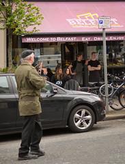 Welcome to Belfast (teedee.) Tags: fake weapon display march coffee shop tourist gunman replica irish republican