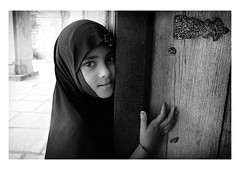 openness (handheld-films) Tags: india muslim islam portrait portraiture female woman women girl niqab burka burqa faces people closeup individual eyes smile openness blackandwhite black monochrome hyderabad subcontinent direct