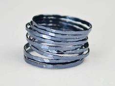 **Free Domestic Ship (alaridesign) Tags: free domestic shipping for all orders over 50 use coupon code shipfree50 super thin gunmetal silver stacking ring these rings 13 each choose number y alari