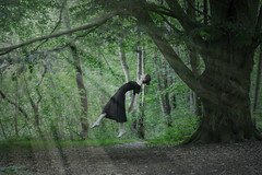 Tree of life (patrick.kerstin) Tags: levitation photography model black white dress forest tree light lightrays lightbeams sunlight floating surreal surrealism surreality fairy tale