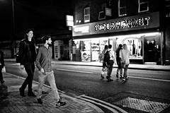 Homerton High St (I M Roberts) Tags: homertonhighstreet nightscene supermarket menandwomen urbansetting lowerclapton hackney e5 eastlondon fujix100s bw