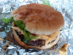 Cook-Out Cheeseburger. (dccradio) Tags: lumberton nc northcarolina robesoncounty food eat cookout takeout drivethru meal snack lunch dinner supper aluminumfoil tinfoil foil cheeseburger hamburger hamburgerroll hamburgerbun meltedcheese lettuce catsup ketchup