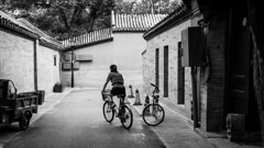 Departure (Go-tea 郭天) Tags: pékin beijingshi chine cn beijing hutong gulou old traditional tradition history historic historical building house construction bicycle bikes departure movement sport transportation exploration ride riding woman candid young lady back backisde roof day shadow light alone lonely motorbike motorcycle side narrow alley trees street urban city outside outdoor people bw bnw black white blackwhite blackandwhite monochrome naturallight natural asia asian china chinese canon eos 100d 24mm prime