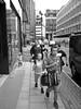 Family walk (slavamanc) Tags: street family urban portrait children monochrome blackwhite manchester summer lumixg20f17 woman city