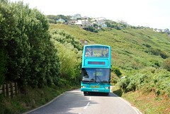 Atlantic Coaster A1 bus in Sennen Cove (zawtowers) Tags: cornwall kernow summer holiday break vacation july 2017 sennen cove porthsenen monday 17th sunny afternoon beach seaside hot weather blue skies penwith peninsula atlantic coaster a1 bus open top climbing steep hill