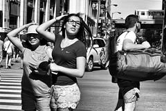 Summer on State (draketoulouse) Tags: chicago loop state street blackandwhite monochrome people city urban downtown women shadow sunlight outside outdoor traffic