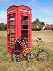 My Bike and a Red Telephone Box (cycle.nut66) Tags: moulton tsr27 tsr 27 space frame bike bicycle cycle carradice brooks village green sarratt red telephone box olympus epl1 evolt micro four thirds mzuiko