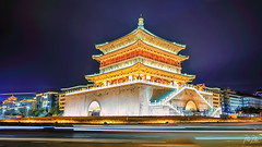Bell Tower of Xi'an (.::Prad Patel::.) Tags: bell tower xian china temple roundabout traffic night lights light chinese tang dynasty