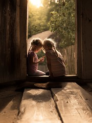 Ladybug (iwona_podlasinska) Tags: girls light door wooden backlit childhood children