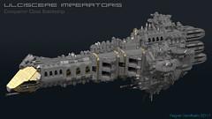 Ulciscere Imperatoris (CK-MCMLXXXI) Tags: lego moc starship spaceship battleship warhammer 40000 40k gothic imperial navy digital render ldd