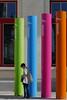 Four sticks and a Lady !! (jo.misere) Tags: leuven station centraal sticks kleuren orange purple blue green oranje blauw paars groen