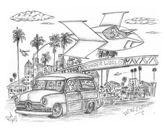 WW Entrance (rod1691) Tags: bw scifi grey concept custom car retro space hotrod drawing pencil h2 hb original story fantasy funny tale automotive art illistration greyscale moonpies sketch