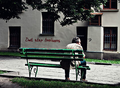 2010-08-05cb Hooligans ([Ananabanana]) Tags: nikon d40 gimp photoscape 1855mm 1855 nikkor nikon1855mmkitlens nikon1855mm nikonafsdx1855mm nikkor1855mm nikkorafsdx1855mm nikonistas nikonista lviv lvov lemberg lemburg ukraine ukrainian graffiti bench streetart streetphotography streetphoto