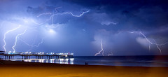 117 Pictures in 2017 #76 Power/Powerful (Karyn .) Tags: 117picturesin2017 storm lightning thunder clouds boscombepier bournemouth bournemouthecho sky dorset weather flash july 2017 sonya77ii reflections