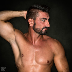 Saša (WF portraits) Tags: srb man male portrait studio gym fitness muscles shaven chest hairy beard dark nude naked profile arms