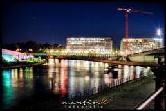 Gustav-Heinemann-Brücke (Krueger_Martin) Tags: river spree wasser water night berlin blau blue light lights licht gustavheinemannbrücke ludwigerhardufer langzeitbelichtung hdr photomatix colorful bunt farbig architecture architektur weitwinkel wideangle 30mm sigma sigma30mmf14exdchsm canoneos7d reflex reflections spiegelung brücke bridge urban stadt city