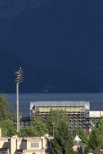 Bühne der Thuner Seespiele im Thunersee bei Thun im Berner Oberland im Kanton Bern der Schweiz