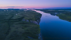 Midnight Colors (Mathieu Dumond) Tags: arctic nunavut canada coppermineriver landscape tundra summer july sky water river pink blue green night sunset sunrise mathieudumond umingmakproductions inexplore