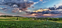IMG_4365-67PRtzl1scTBbLGER3 (ultravivid imaging) Tags: ultravividimaging ultra vivid imaging ultravivid colorful canon canon5dmk2 clouds sunsetclouds stormclouds scenic vista rural rainyday summer evening pennsylvania pa panoramic fields farm painterly cornfields sunsetrain twilight