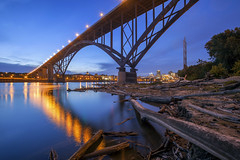 Twilight Under the High Bridge (Sam Wagner Photography) Tags: high bridge smith ave architecture wide angle long exposure mighty mississippi river twilight blue hour water flowing smooth skyline cityscape stpaul minnesota capitol downtown summer