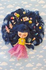 memories of birthdays past (JennWrenn) Tags: blythe doll custom bluehair memories happybirthday rement teaset kewpies cake icecream monica