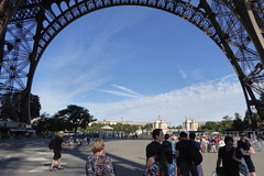 waiting in line for the Eiffel Tower (Muddy LaBoue) Tags: iledefrance monuments towers iconicarchitecture 1889 2017 july worldexposition eiffeltower paris france attractions tourism panasoniclumixdmctz60 summer arch
