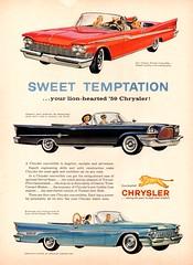 1959 Chrysler Convertibles (aldenjewell) Tags: 1959 chrysler windsor 300e new yorker convertible ad