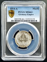 1914-A Germany Empire 1 Mark (ApexCollecting.com) Tags: germany german 1mark 1914 ms66 mintstate pcgs brilliantuncirculated uncirculated unc bu coin coins silver numismatics numismatica numismatist hobby investment old vintage antique history historic empire rare scarce