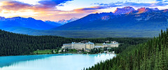 Lake Louise Fairmont Summer (Bluesky251) Tags: alberta banff buildings canada clouds colorful forest grass green hiking hotel lake lakelouise lakelouisefairmont landscape lights mountains natural nature night skyline sunny sunset tourist travel water weather