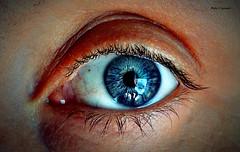 La mia ragazza è magica... (michelecipriotti) Tags: bologna emiliaromagna italia occhio donna colori azzurro riflessi