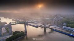 Boyne Viaduct with fog and sunset (mythicalireland) Tags: boyne viaduct drogheda bridge river valley sunset sun fog mist town port ships boats water drone aerial dji phantom 3 advanced