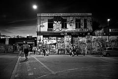 Lord Napier, Hackney Wick (I M Roberts) Tags: lordnapier hackneywick nightscene urbansetting urbanart graffiti eastlondon fujix100s bw