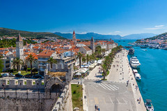 Trogir Town, Croatia (Wolfhowl) Tags: grass berths kamerlengo kulakamerlengo sailing yachting mountains city cityscape panorama croatia zadarregion clouds trogir yacht adriatic castle sea bbyachting travel sails rocks zadar sky seascape pano europe town boats